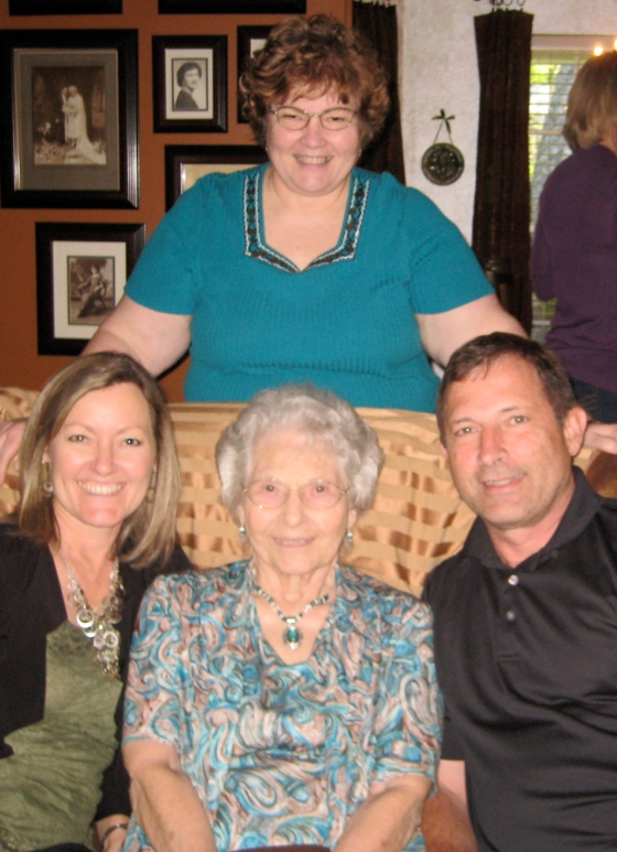 Mom's 90th birthday party last year. L. to R.: Me, Mom, Bill (my brother), Bettie at top (my sister)